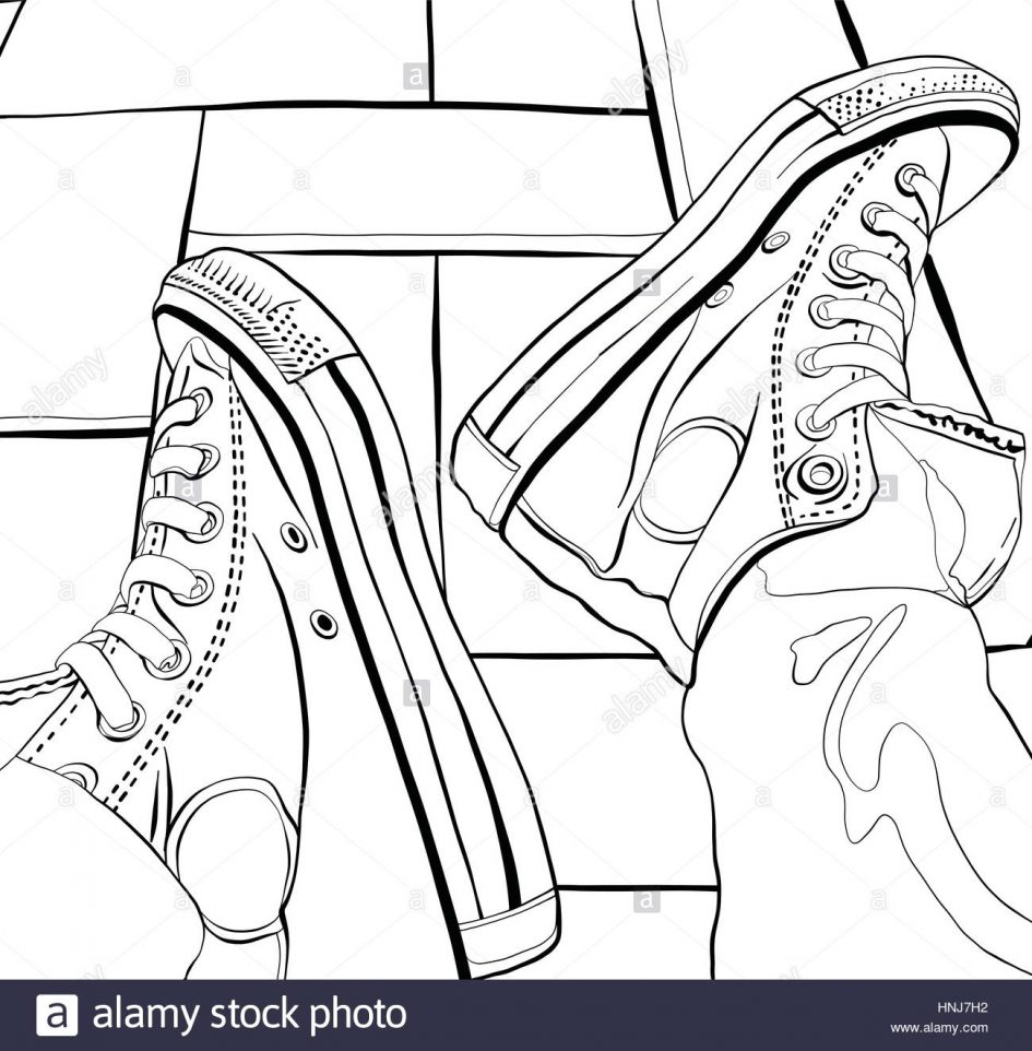 945x962 Canvas. Drawing Sneakers Vector Illustration Of A Hand Drawing