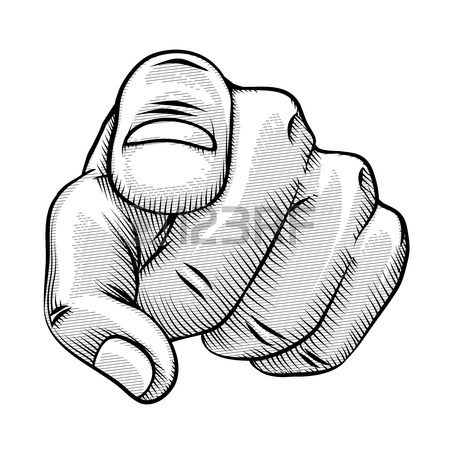 450x450 Retro Line Drawing Of A Pointing Finger Royalty Free Cliparts