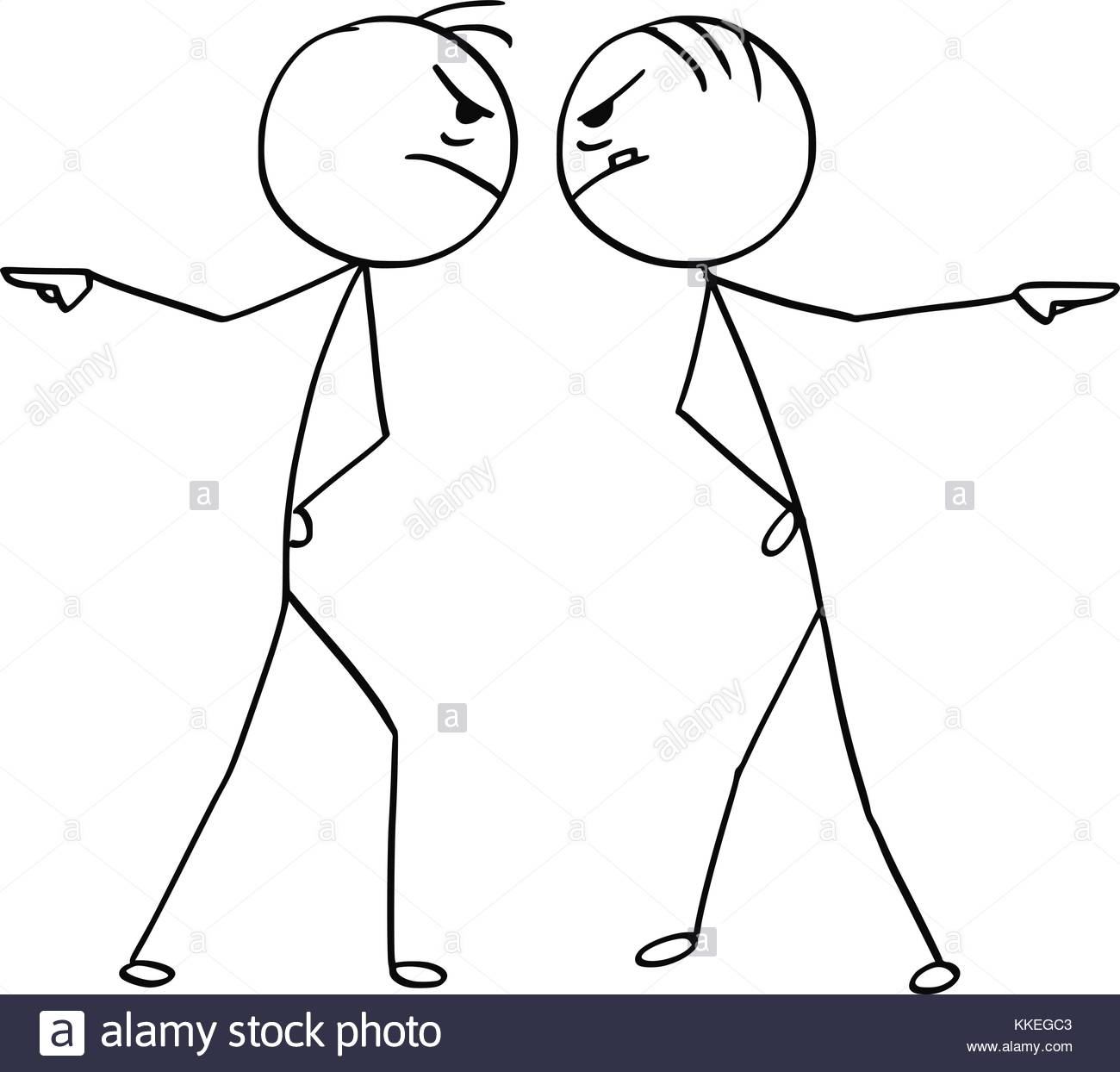 1300x1244 Cartoon Stick Man Drawing Illustration Of Two Angry Man Pointing