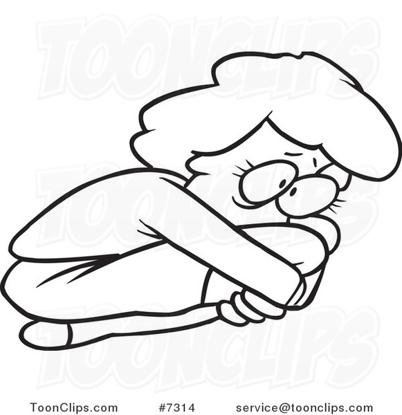 581x600 Cartoon Black And White Line Drawing Of A Scared Lady Curled Up