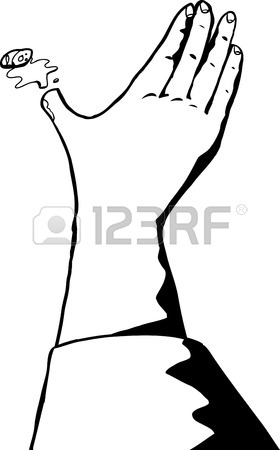280x450 Outline Cartoon Of Single Hand Reaching Out Royalty Free Cliparts