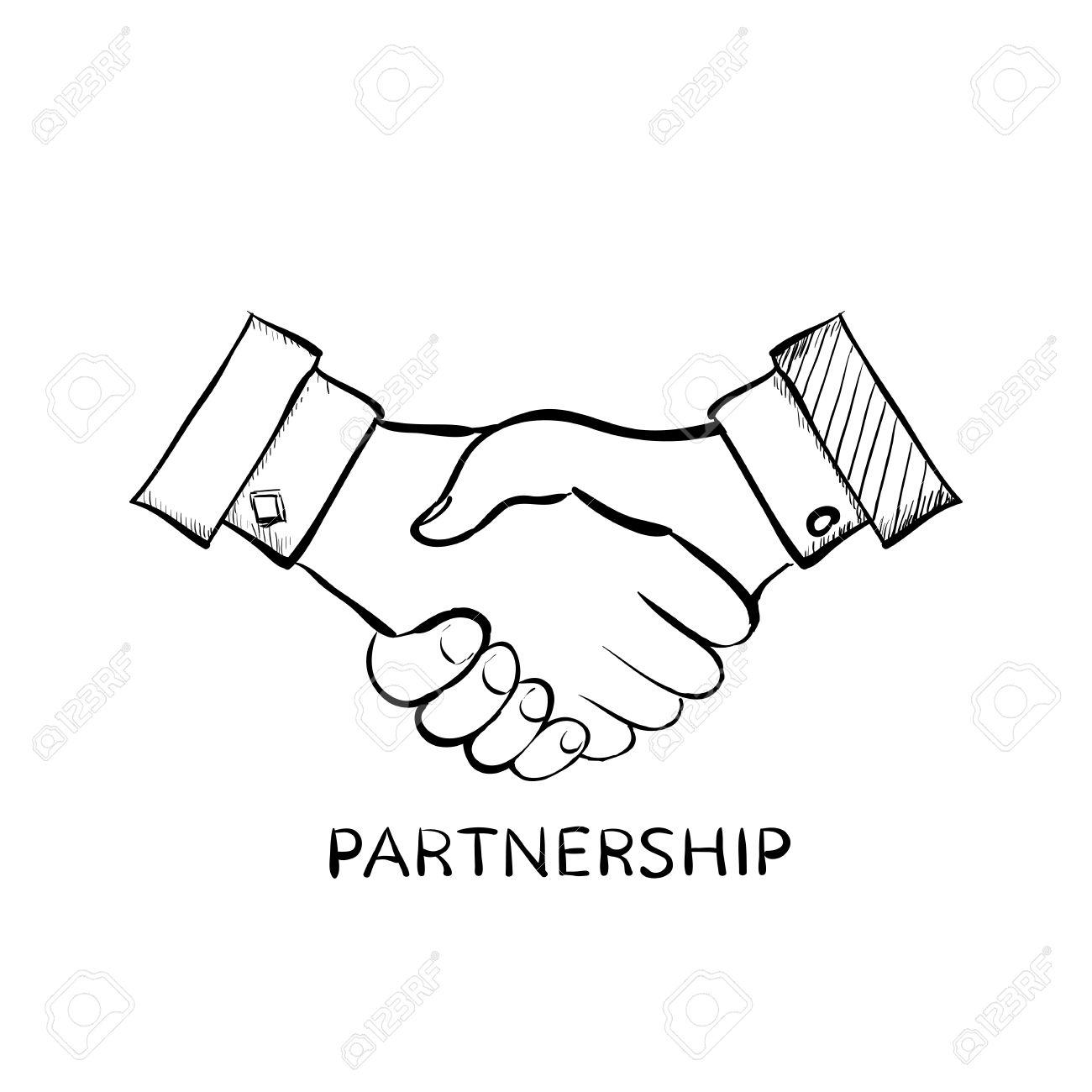 1300x1300 Handshake Of Two Men. Symbol Of Partnership. Doodle Image. Stock