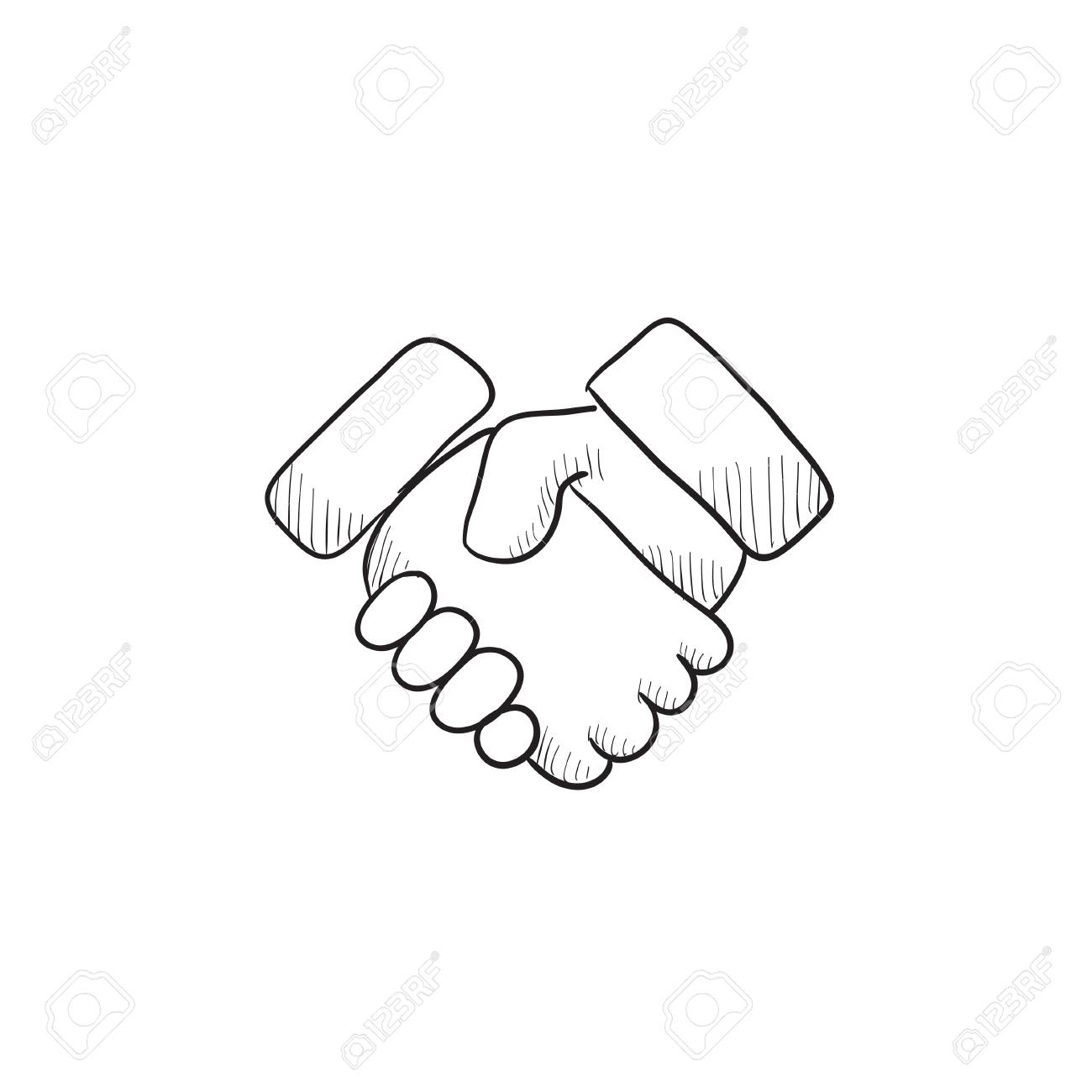 1300x1300 Handshake Vector Sketch Icon Isolated On Background. Hand Drawn