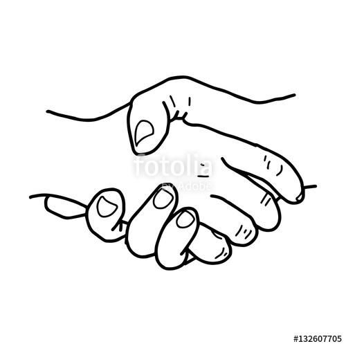 500x500 Partnership. Sketch Handshake Vector Illustration. Stock Image
