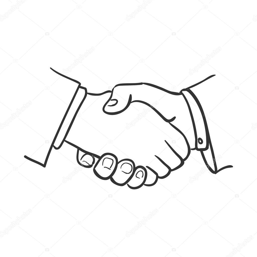 1024x1024 Hand Draw Doodle Handshake Stock Vector Netkoff