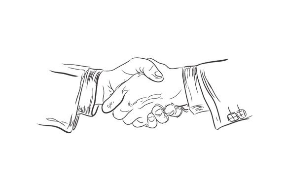 580x387 Business Handshake, Sketch By @graphicsauthor Graphics