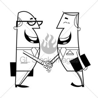 325x325 Shaking Hands Cartoon Illustration. Gl Stock Images