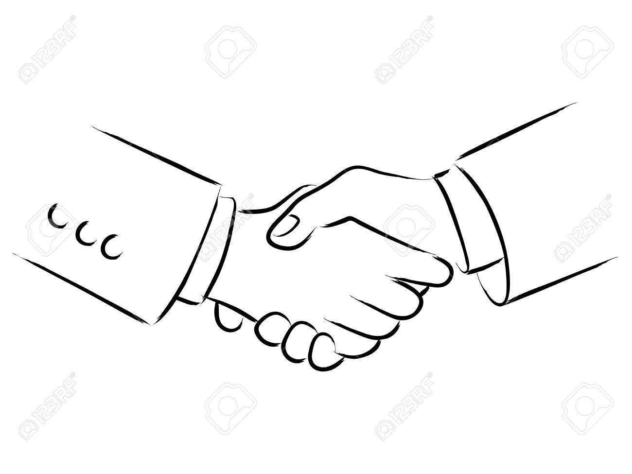 1300x975 Simple Line Art Of Shaking Hands Royalty Free Cliparts, Vectors