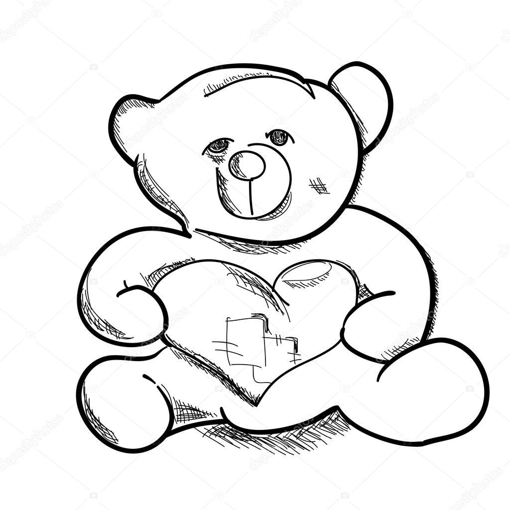 1024x1024 Hand Draw Simple Sketch Teddy Bear Vector Illustration. Can Be U