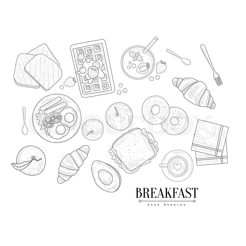 800x800 Breakfast Food Isolated Drawings Set Hand Drawn Realistic Detailed