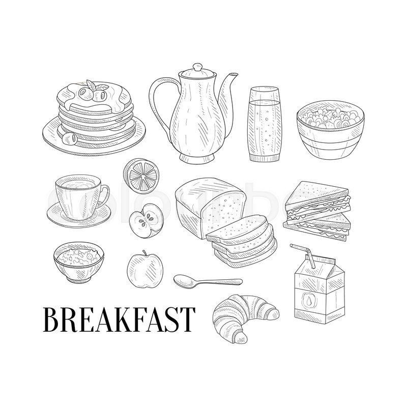 800x800 Breakfast Related Isoated Food Items Hand Drawn Realistic Detailed