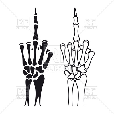 400x400 Skeleton Hand With Middle Finger