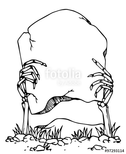 408x500 Hand Draw Of Skeleton Hand Holding The His Grave With Space