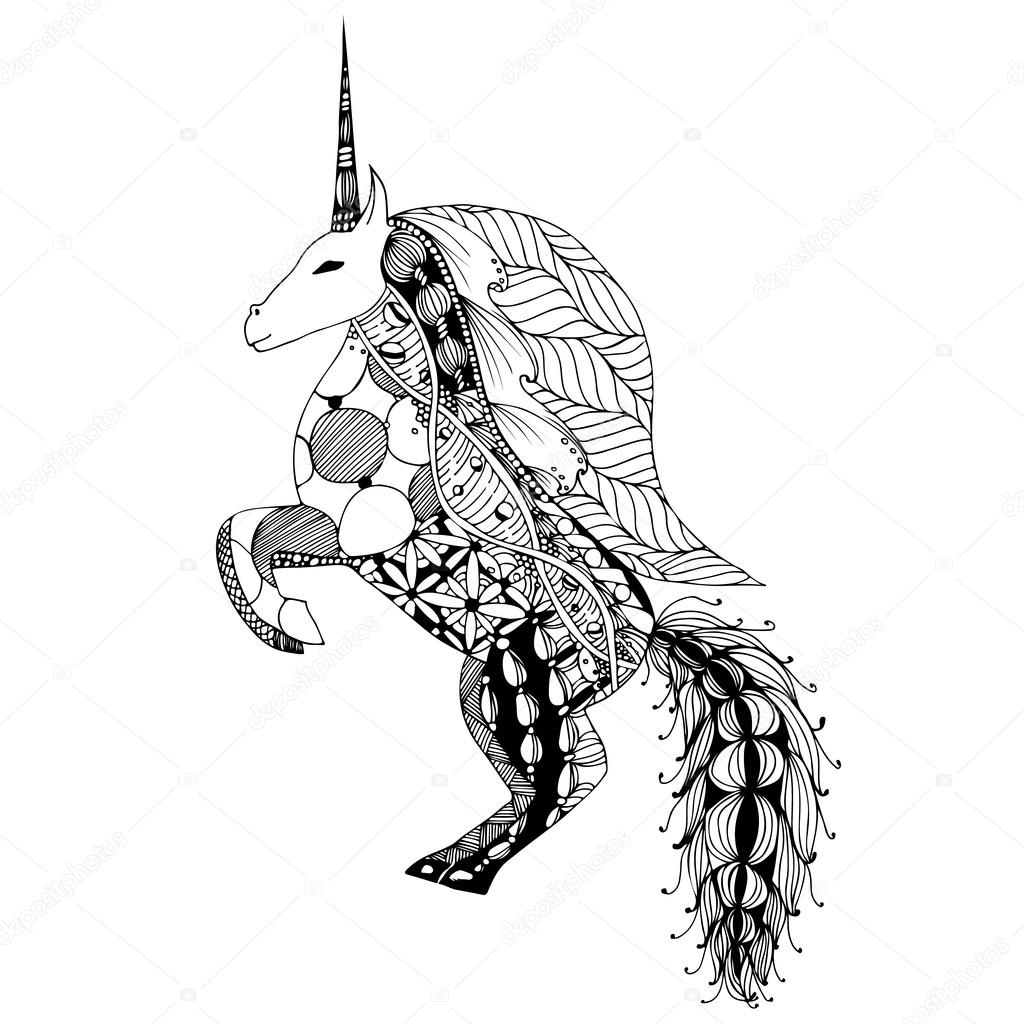 1024x1024 Hand Drawing Unicorn For Adult Anti Stress Coloring Pages
