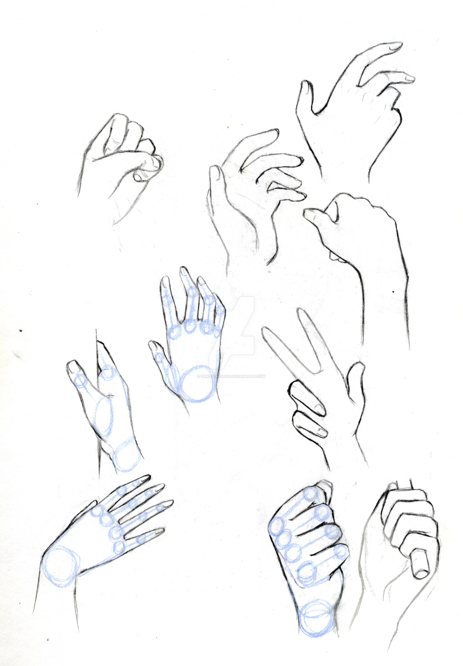 1600x2303 Hand Practice Sketches(Mini Tutorial) By Sakoiyachan