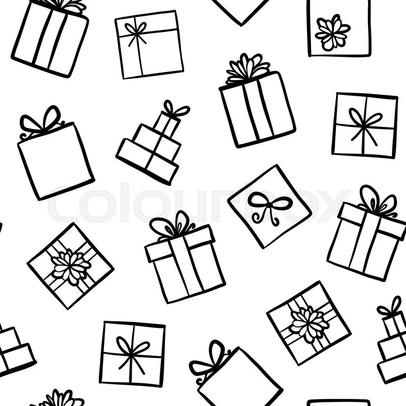 800x800 Hand Drawn Seamless Pattern With Outline Gifts With Bows