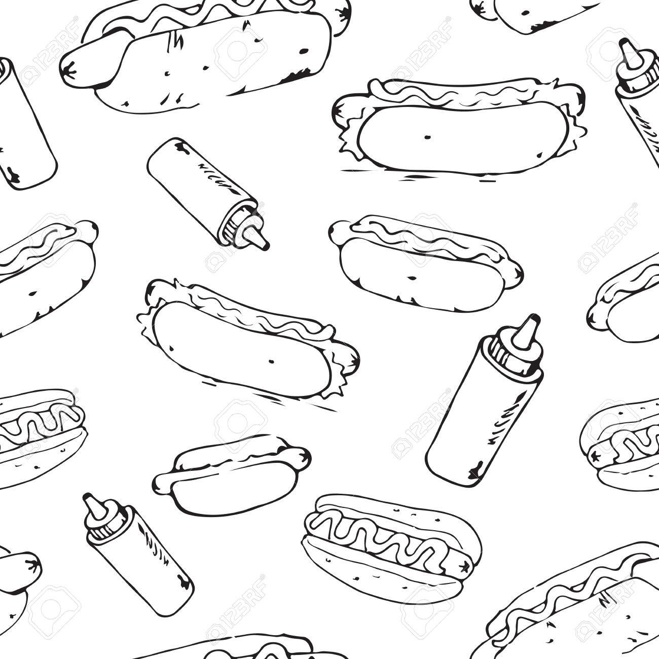 1300x1300 Hot Dog Hand Drawn Seamless Pattern. Fast Food Design Element