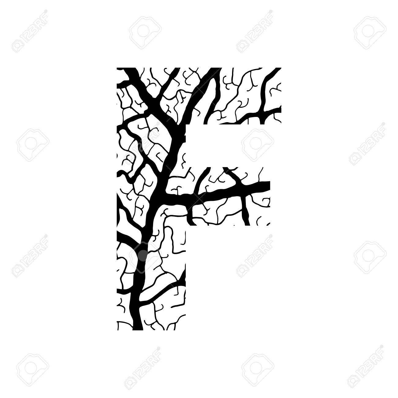 1300x1300 Nature Alphabet, Ecology Decorative Font. Capital Letter F Filled