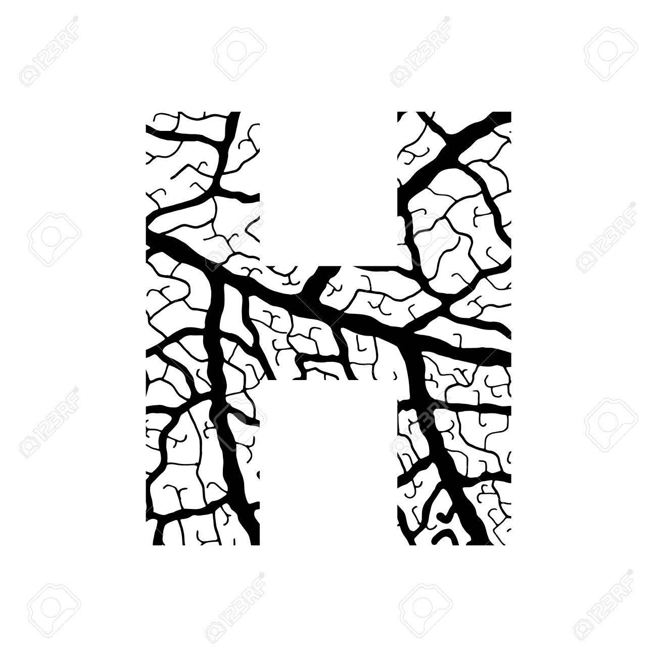 1300x1300 Nature Alphabet, Ecology Decorative Font. Capital Letter H Filled