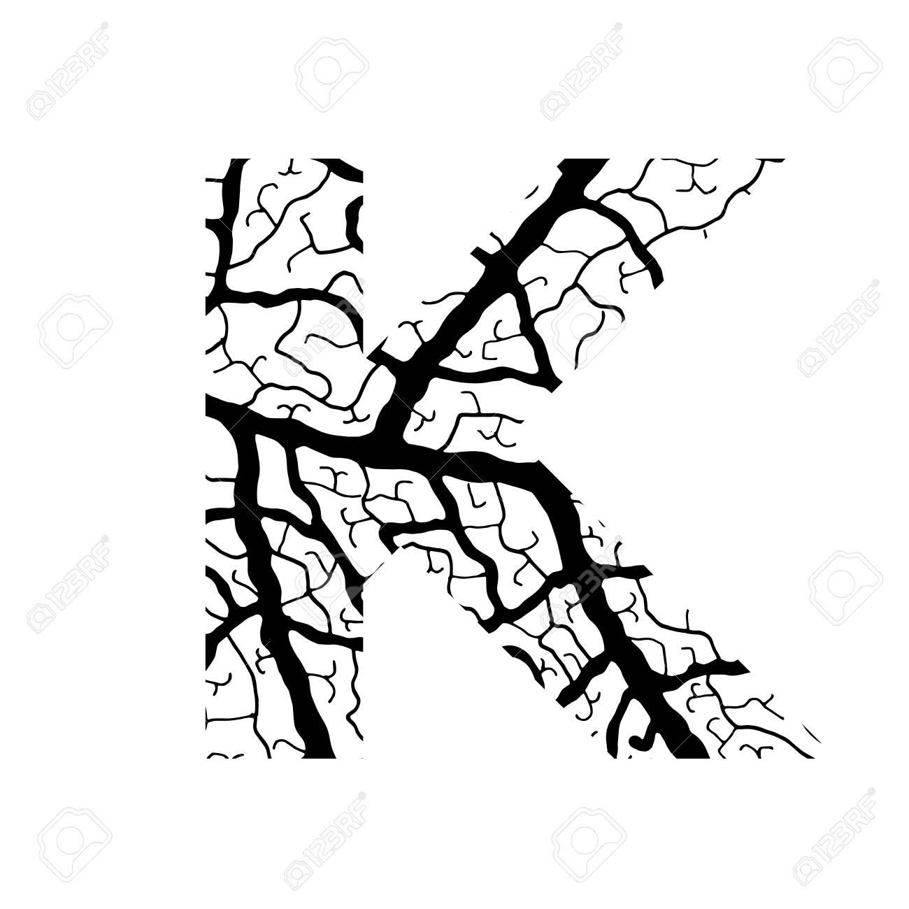 1300x1300 Nature Alphabet, Ecology Decorative Font. Capital Letter K Filled