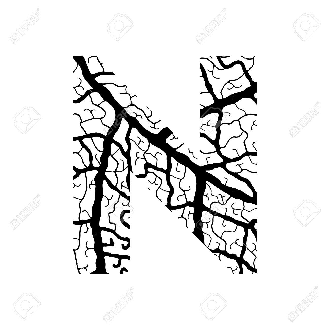 1300x1300 Nature Alphabet, Ecology Decorative Font. Capital Letter N Filled