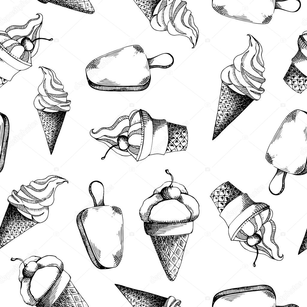 1024x1024 Cute Hand Drawn Seamless Pattern With Different Types Of Ice Cream