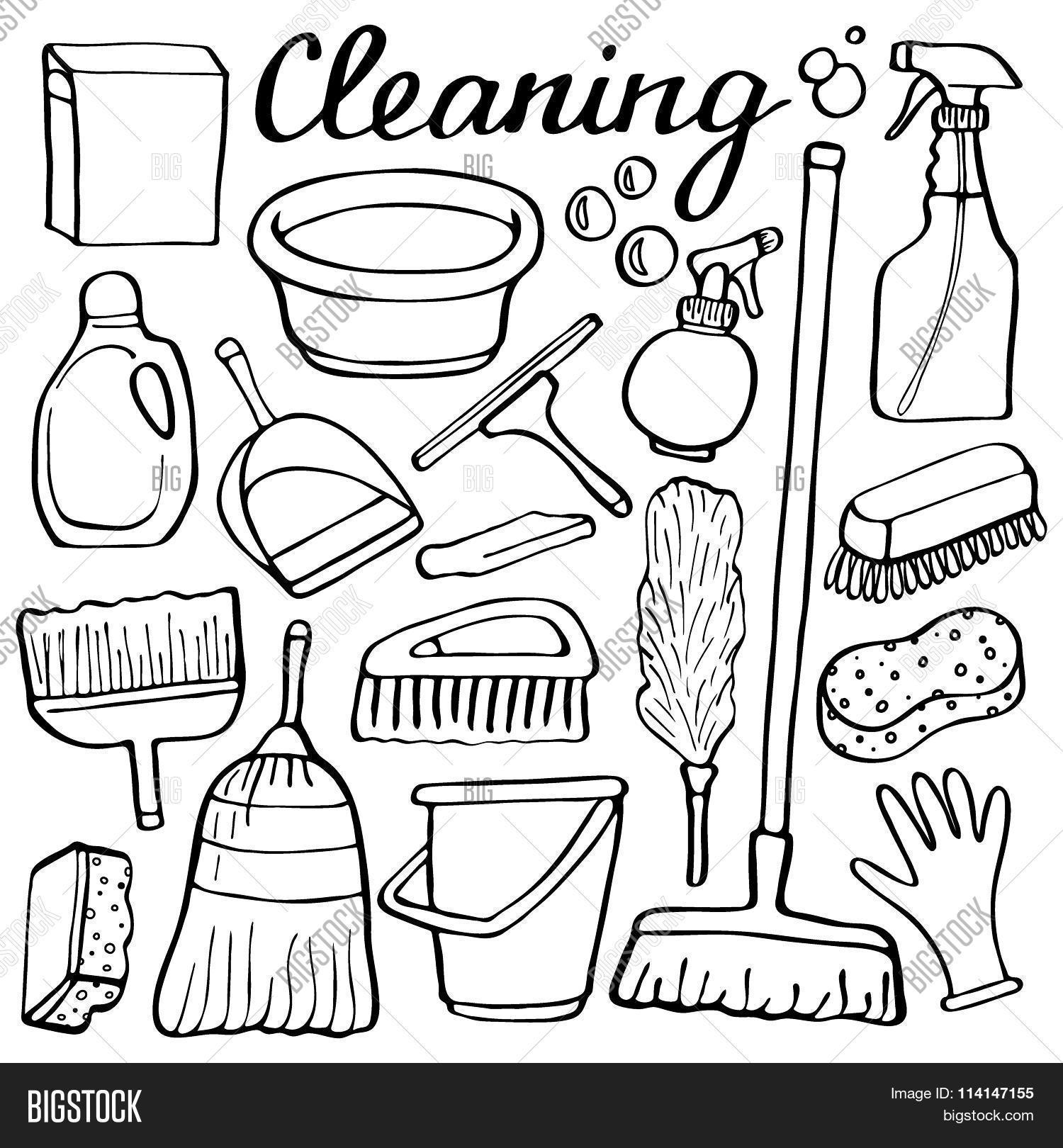1500x1620 Cleaning Tools Set. Hand Drawn Vector Amp Photo Bigstock