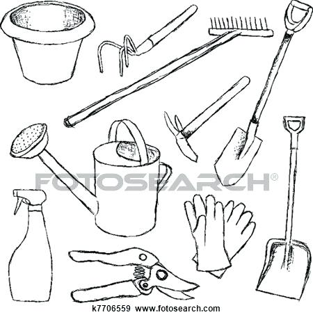 450x456 Gardening Tools Drawing Saleros.club