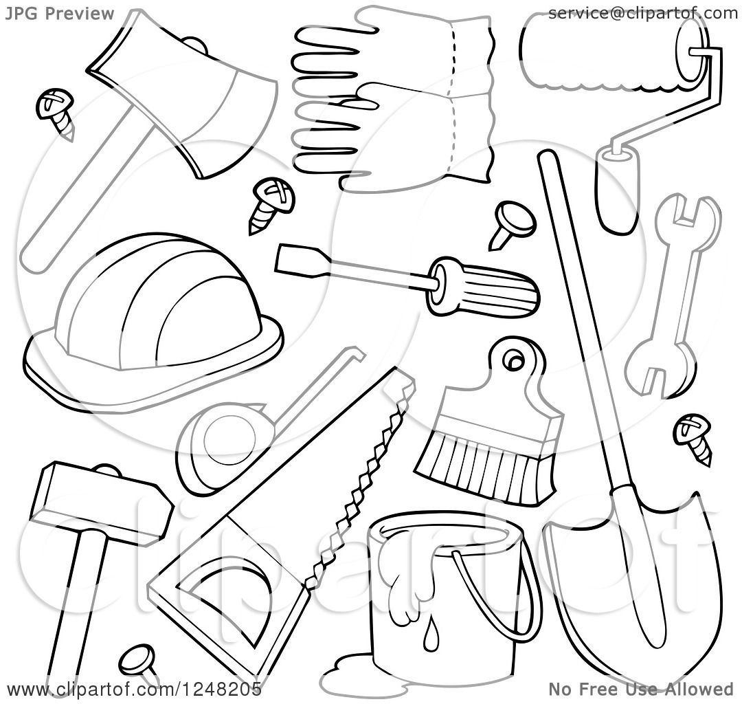 1080x1024 Clipart Of Black And White Hand Tools