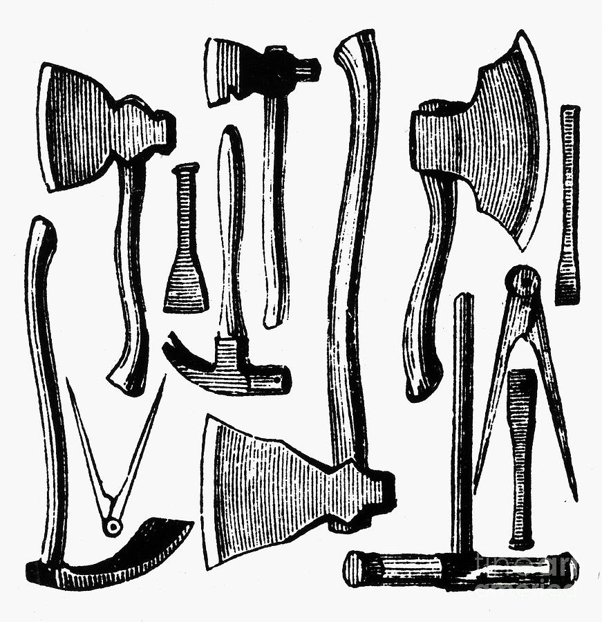 871x900 Colonial Hand Tools Photograph By Granger