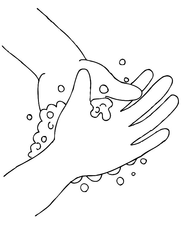 600x824 Hand Washing Bubbling Soap Coloring Pages Hand Washing Bubbling