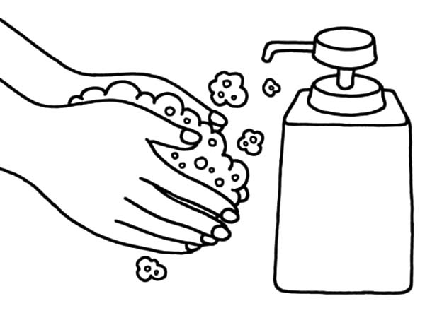 600x443 Hand Washing Coloring Pages