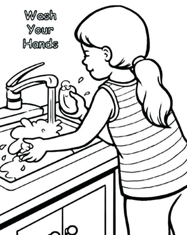 600x754 Hand Washing Coloring Pages For Preschoolers Hand Washing Coloring