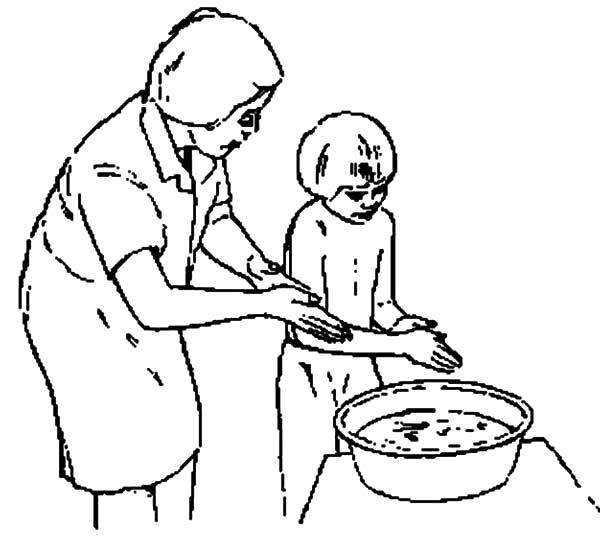600x539 Hand Washing Step By Coloring Pages Sun