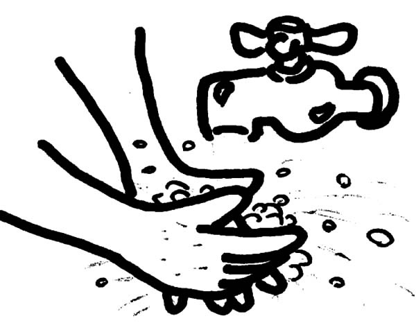 600x479 Picture of Hand Washing Coloring Pages Coloring Sun