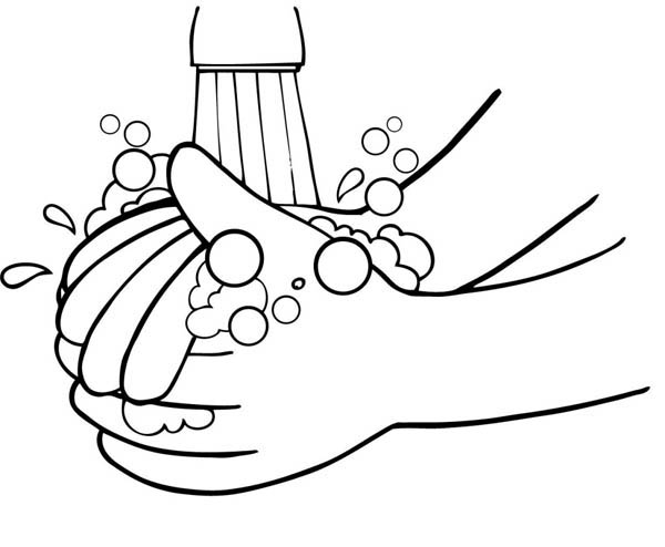 600x494 Washing Hand From Germs Coloring Page Coloring Sky