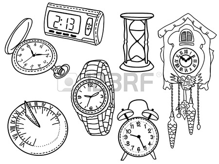450x338 Hand Drawn Set Of Clocks And Watches Royalty Free Cliparts