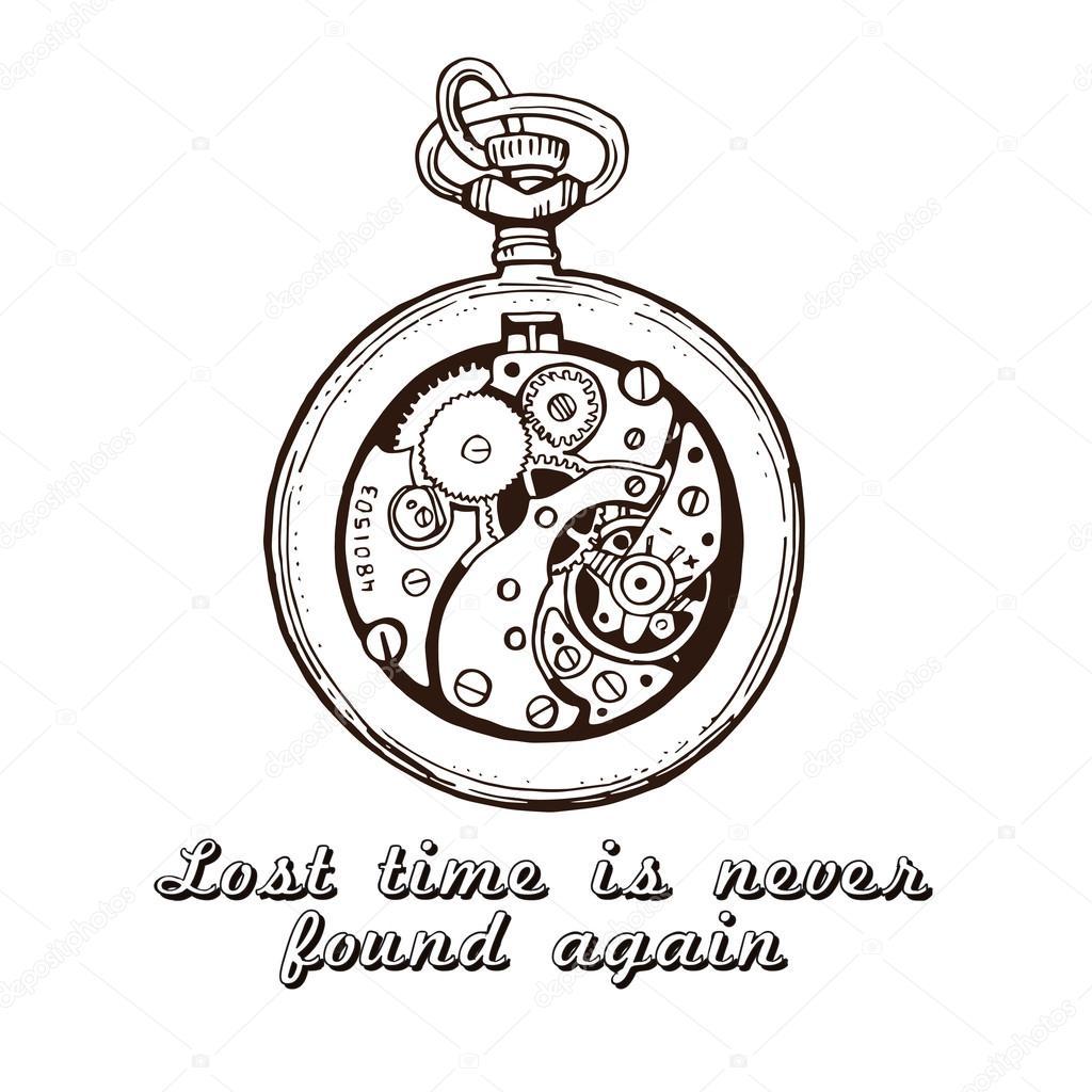 1024x1024 Hand Drawn Vintage Watch Clock Sketch Vector Illustration Stock