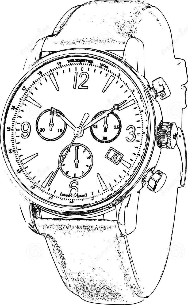 801x1300 Line Drawing Wrist Watch Watch Technical Drawing