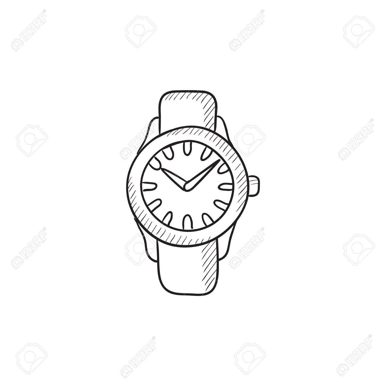 1300x1300 Wrist Watch Sketch Icon For Web, Mobile And Infographics. Hand