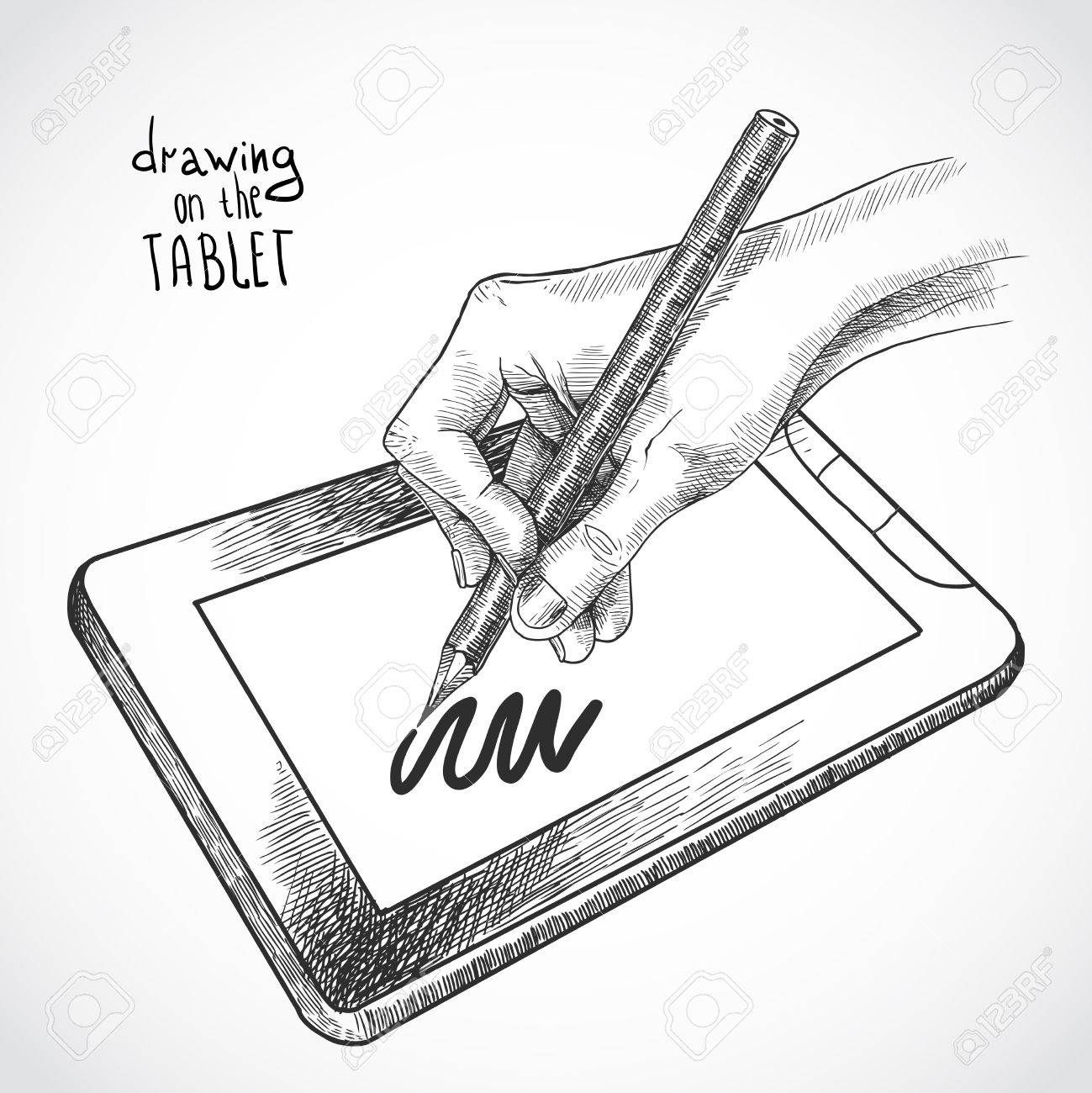 1299x1300 Hand Drawing On The Tablet With Graphite Pencil Sketch Isolated