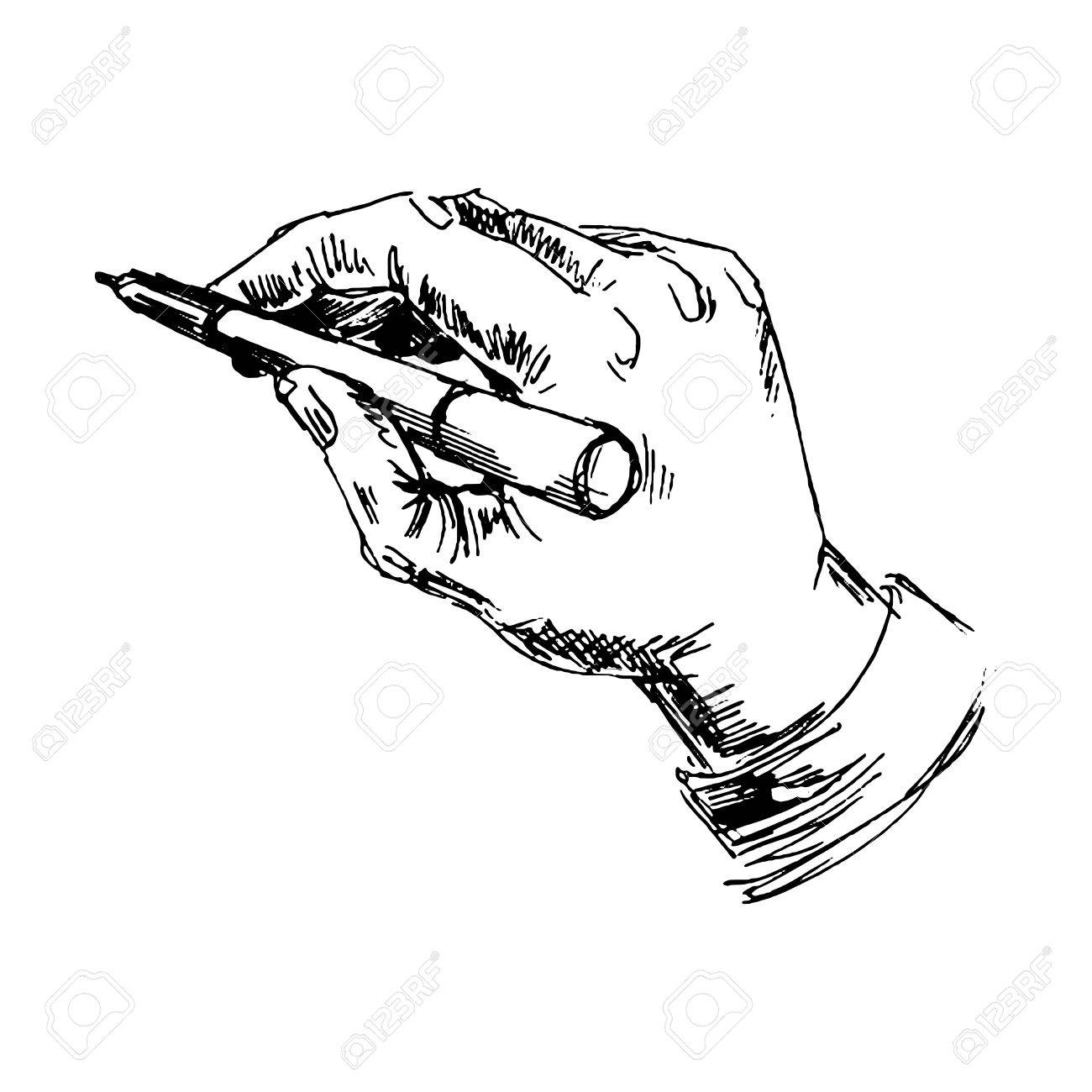 1300x1300 Hand With Pencil. Sketch Converted To Vectors. Royalty Free