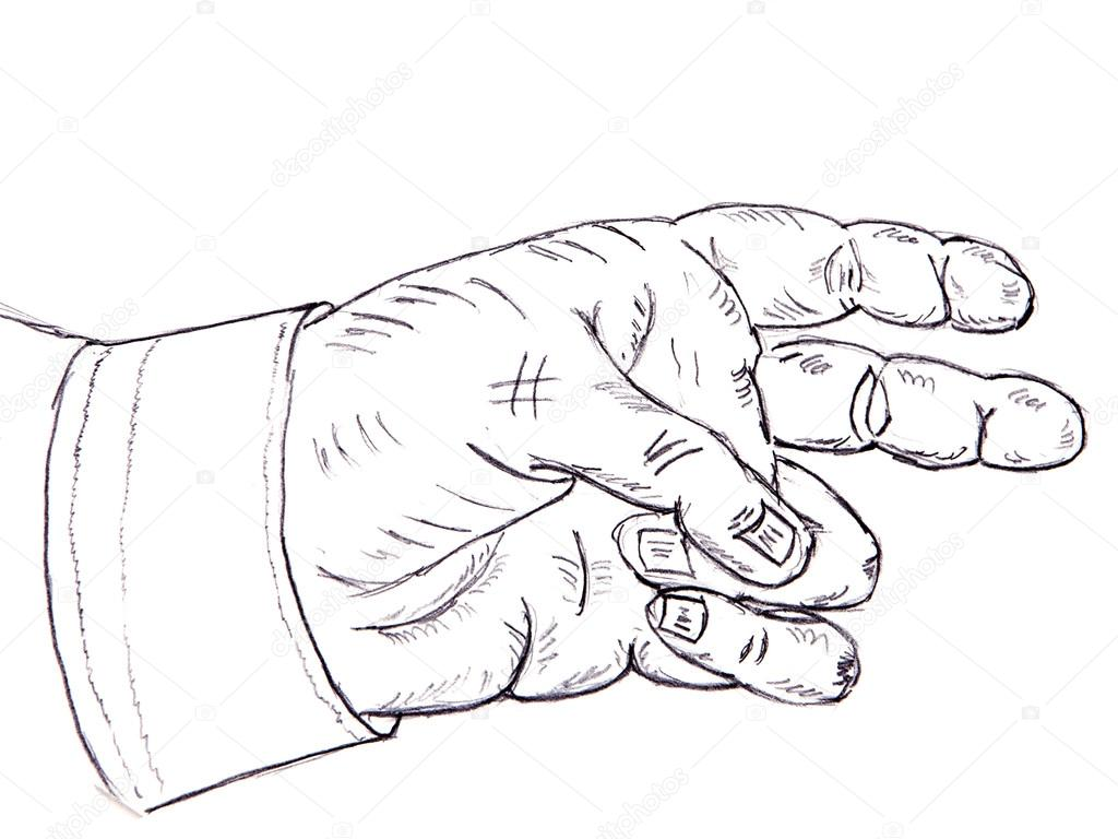 1024x768 Pencil Drawing. Human Hand Stock Photo Agibalova57