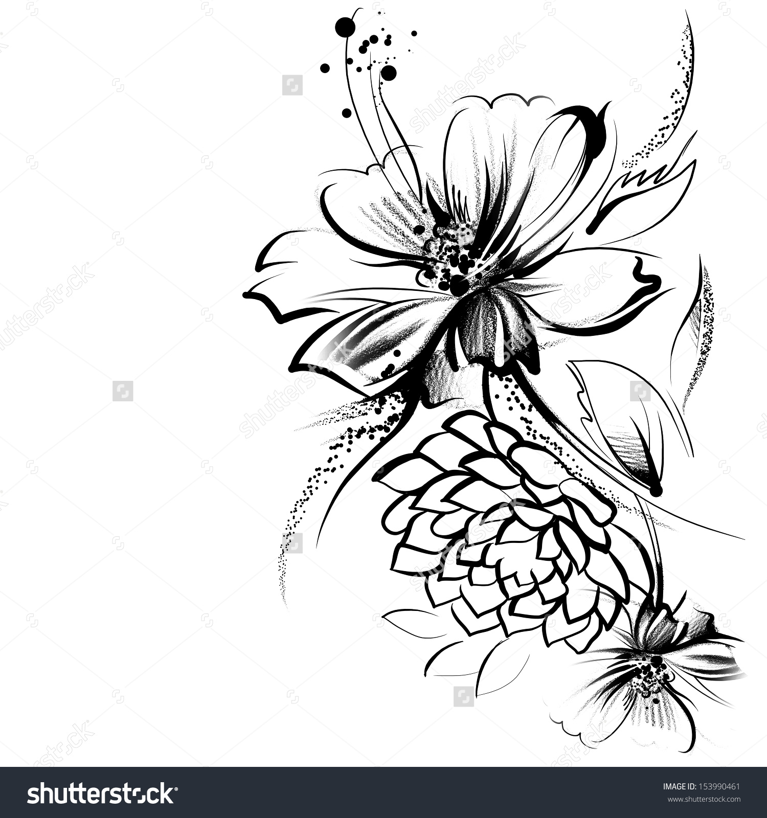 1500x1600 Black Background With White Flower Drawings Stock Photos Images