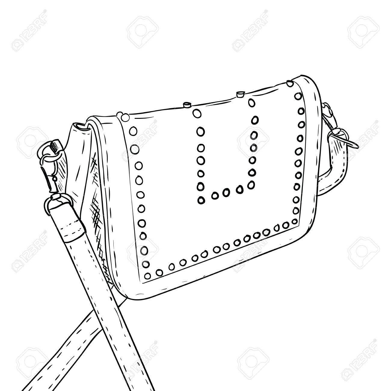 1300x1300 Sketch Of Ladies Handbag. Female Stylish Fashion Bag. Women Bag