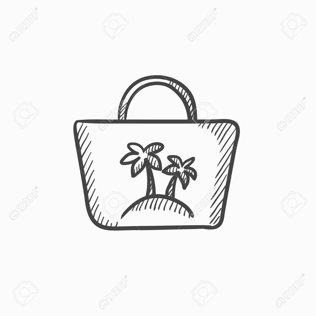 1300x1300 Beach Bag Vector Sketch Icon Isolated On Background. Hand Drawn