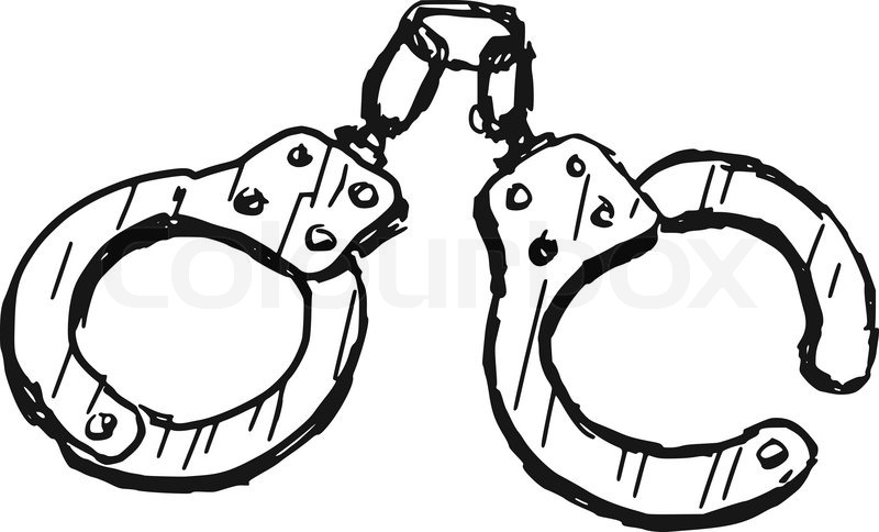 800x484 Hand Drawn, Doodle Illustration Of Handcuffs Stock Vector