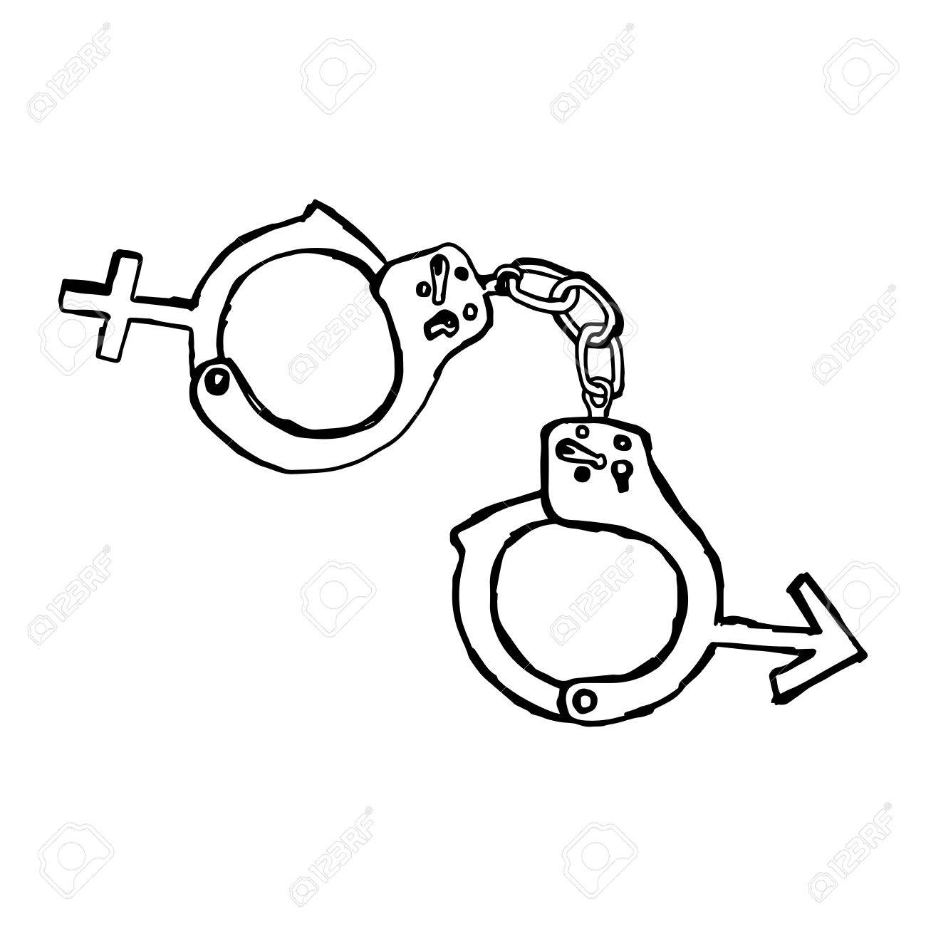1300x1300 Illustration Vector Hand Drawn Doodles Of Handcuff With Sex Sign