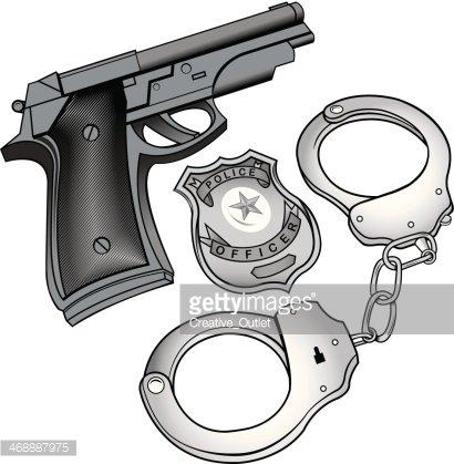 410x419 Gun Handcuffs Badge Premium Clipart