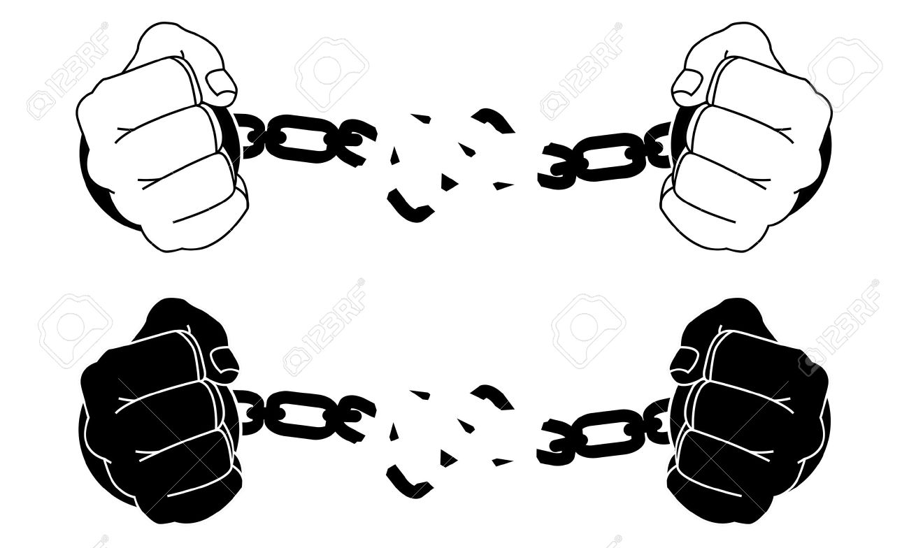 1300x784 Male Hands Breaking Steel Handcuffs. Black And White Vector
